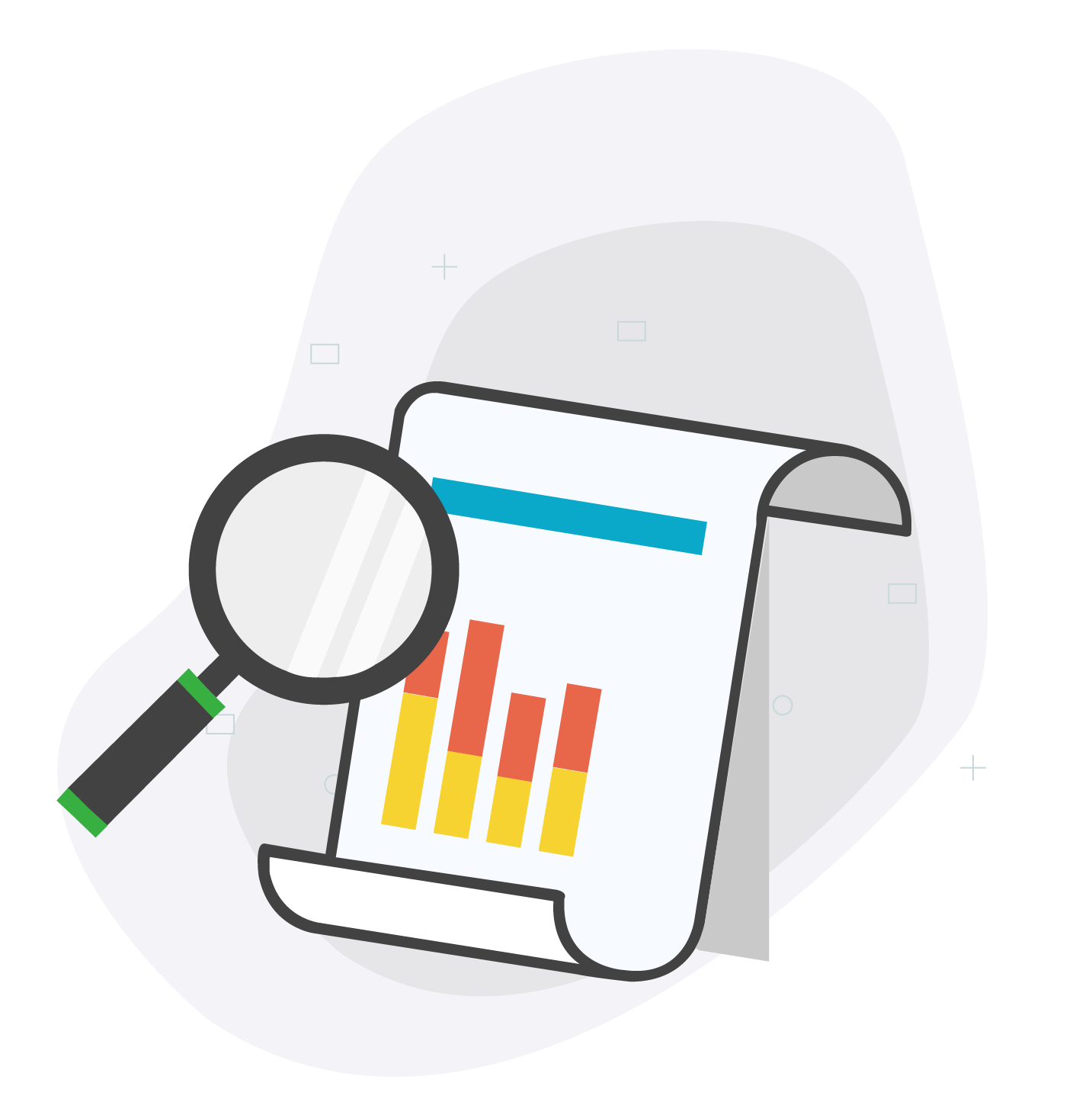 Magnifying glass over an SEO report illustration